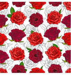 red roses seamless pattern with hand drawn flowers vector image