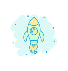 rocket space ship icon in comic style spaceship vector image