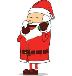 Santa on mobile vector