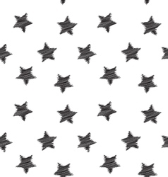 Seamless hand drawing star pattern vector image