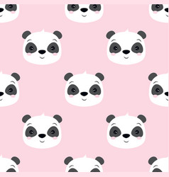 seamless pattern with panda isolated on pink vector image