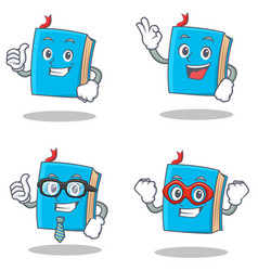 Set blue book character with proud okay vector