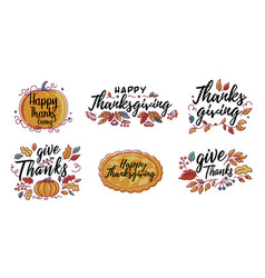 set hand drawn happy thanksgiving vector image