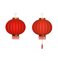 set hanging red chinese lanterns isolated on vector image