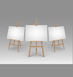 set of brown sienna wooden easels with mock vector image