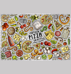 set pizza items objects and symbols vector image