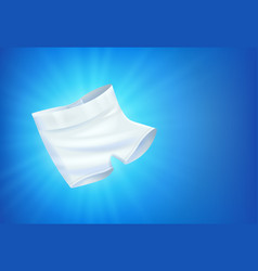 Shiny white male underwear on blue background vector