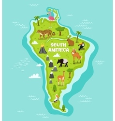 South american with wildlife animals vector
