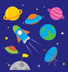 space icon planet rocket star astronaut vector image
