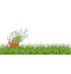 Spring floral border with little blue wild flowers vector