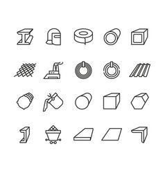 Steel material products line icons steel vector