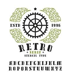 Stock set of serif stencil plate font vector