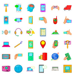 Telecommunication widget icons set cartoon style vector