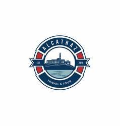 Tour logo design alcatraz prison travel vector