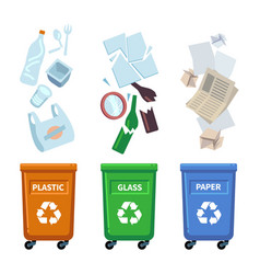 trash bins different types containers for waste vector image