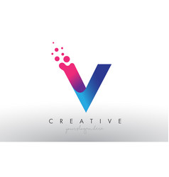 V letter design with creative dots bubble circles vector
