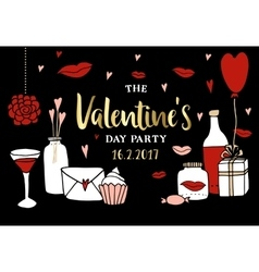 Valentines day party invitation Doodle sketches vector image
