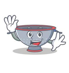 Waving colander utensil character cartoon vector