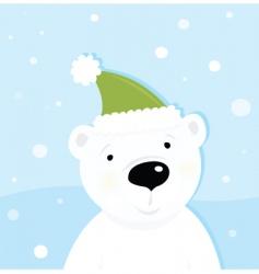 white polar bear on snow vector image