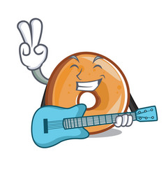 with guitar bagels mascot cartoon style vector image