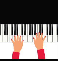 woman hand on piano vector image