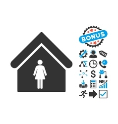 Woman Toilet Flat Icon with Bonus vector image vector image