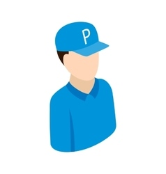 Worker on parking icon isometric 3d style vector