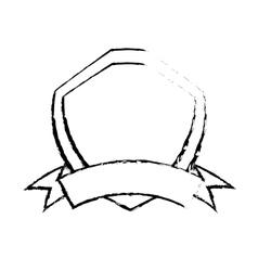 shield premium badge ribbon sketch vector image vector image