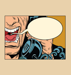 angry man talking on the phone comic cloud vector image vector image