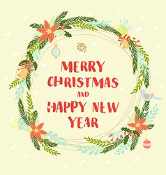 Festive Christmas and New Year floral winter vector image