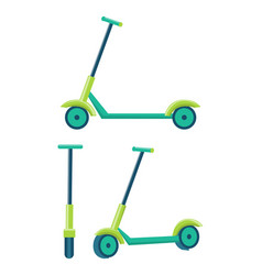 kick scooters different angles set of push scooter vector image vector image