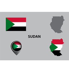 Map of Sudan and symbol vector image vector image