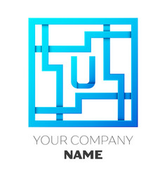 realistic letter u logo in colorful square maze vector image vector image
