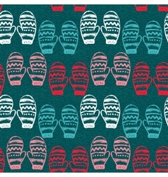 Seamless pattern with hand drawn mittens vector image