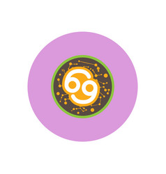 Stylish icon in color circle zodiac sign cancer vector