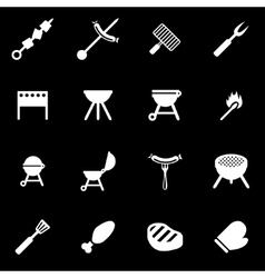 white barbecue icon set vector image