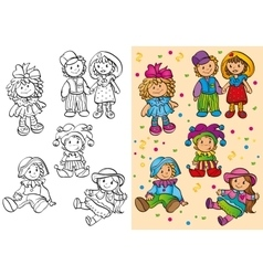 Coloring Book Of Different Cute Dolls vector image