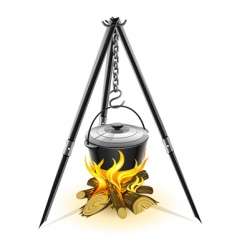 kettle for campfire on tripod vector image