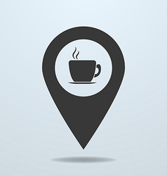 Map pointer with a cup vector image
