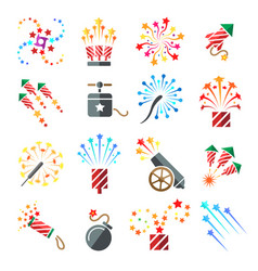 pyrotechnic colored icons vector image