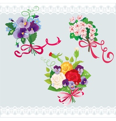 Set of holidays bouquets with sakura roses pansies vector image vector image