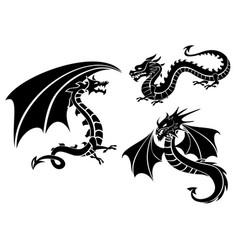 silhouettes of three dragons vector image