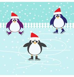 Ice skating cute Penguins vector image