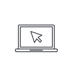laptop computer notebook and cursor click thin vector image vector image