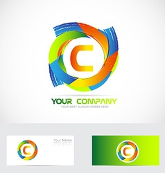 Letter C logo colors vector image vector image