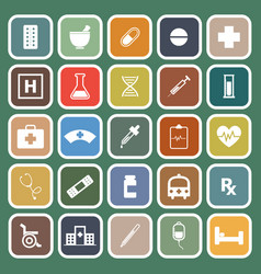 pharmacy flat icons on green background vector image
