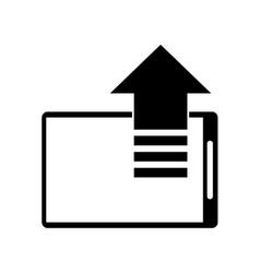 silhouette mobile phone upload arrow gadget vector image