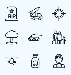 warfare outline icons set collection of officer vector image vector image