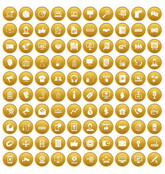 100 data exchange icons set gold vector