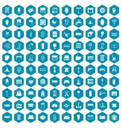 100 furnishing icons sapphirine violet vector